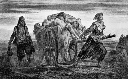 Litografía-de-Moynet-en-el-que-se-ve-un-carro-cargado-con-víctimas-de-la-peste-negra